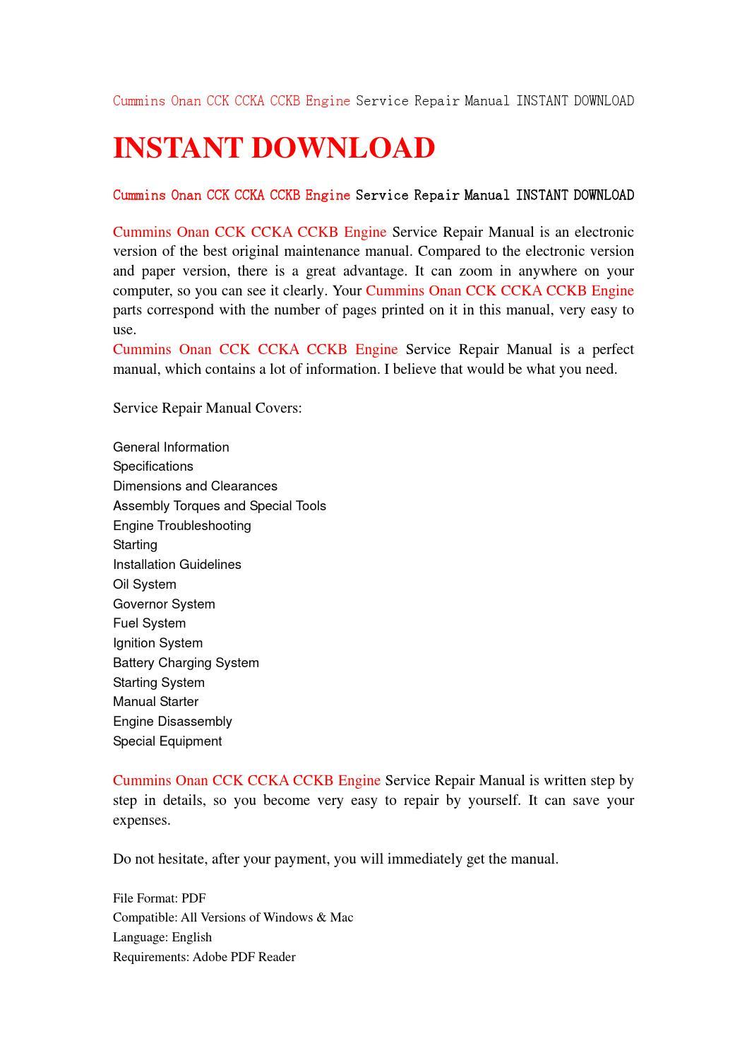 Cummins onan cck ccka cckb engine service repair manual instant download by  fksjmfse78 - issuu