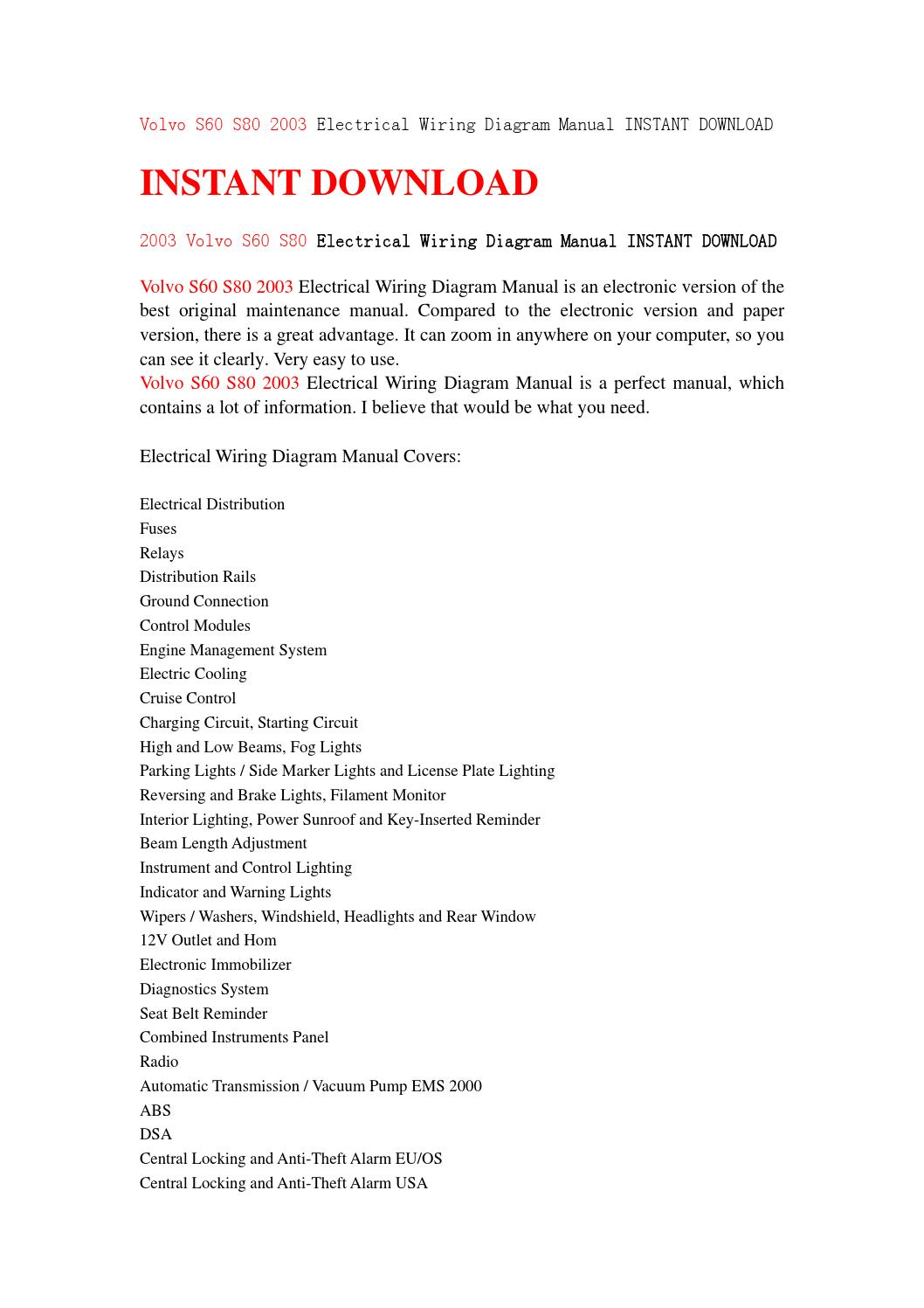 Volvo S60 S80 2003 Electrical Wiring Diagram Manual Instant Download Tail Light By Fksjmfse78 Issuu