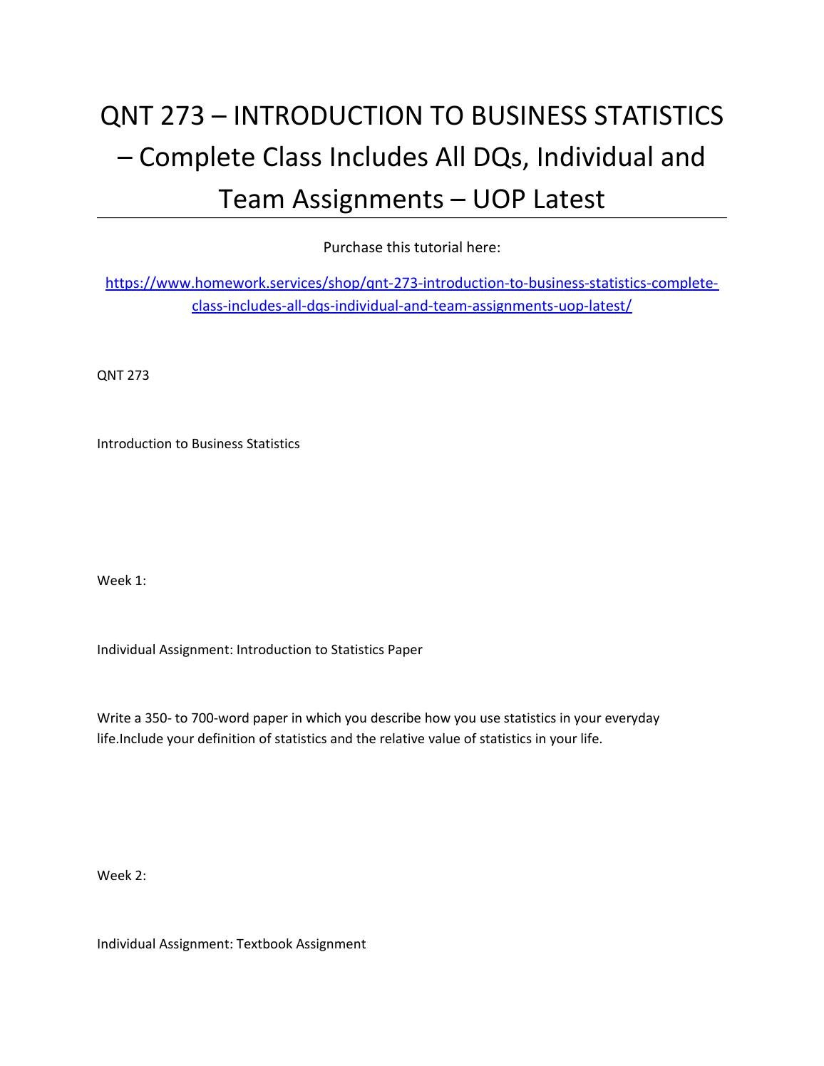 Qnt 273 – introduction to business statistics – complete class