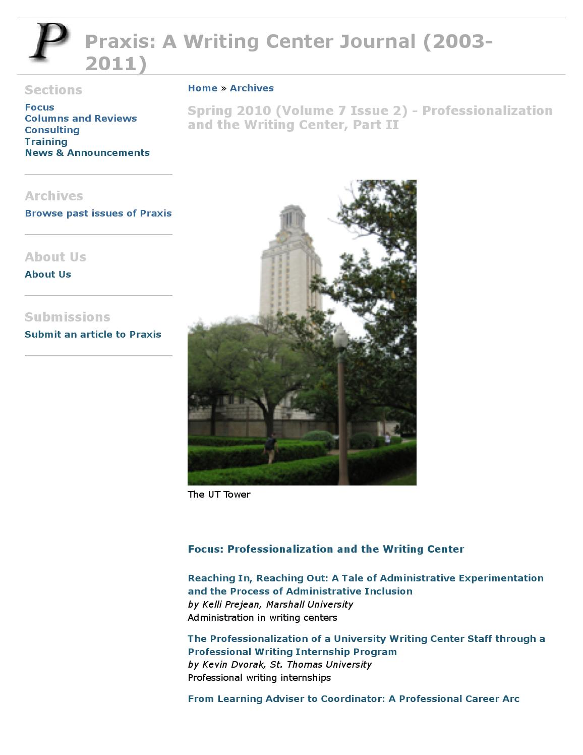 Vol 7 No 2 (2010): Professionalization and the Writing Center, Part 2 by  PraxisUWC - issuu