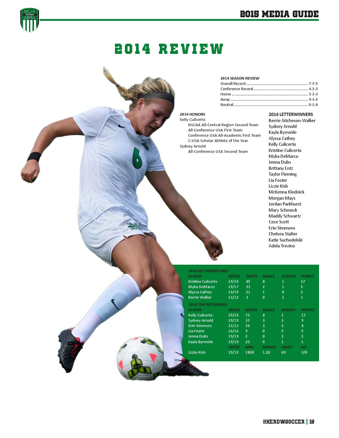 2015 Marshall Women's Soccer Media Guide by Marshall ...