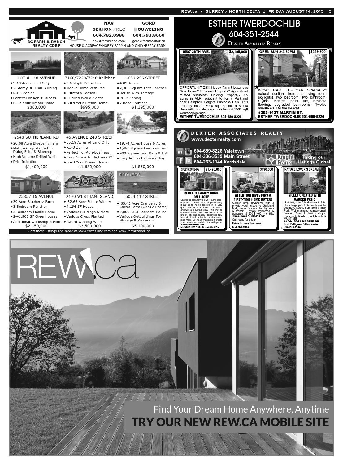 SURREY / NORTH DELTA Aug 14, 2015 Real Estate Weekly by Real