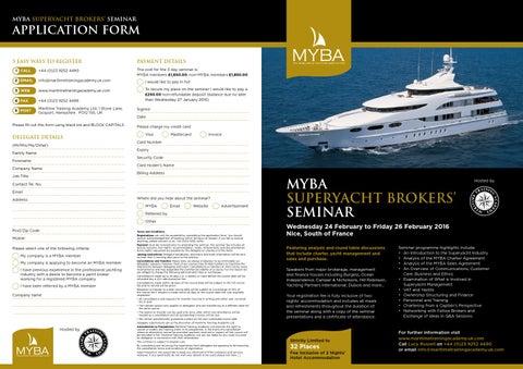 Myba Superyacht Brokers Seminar Brochure 2016 By Myba Worldwide