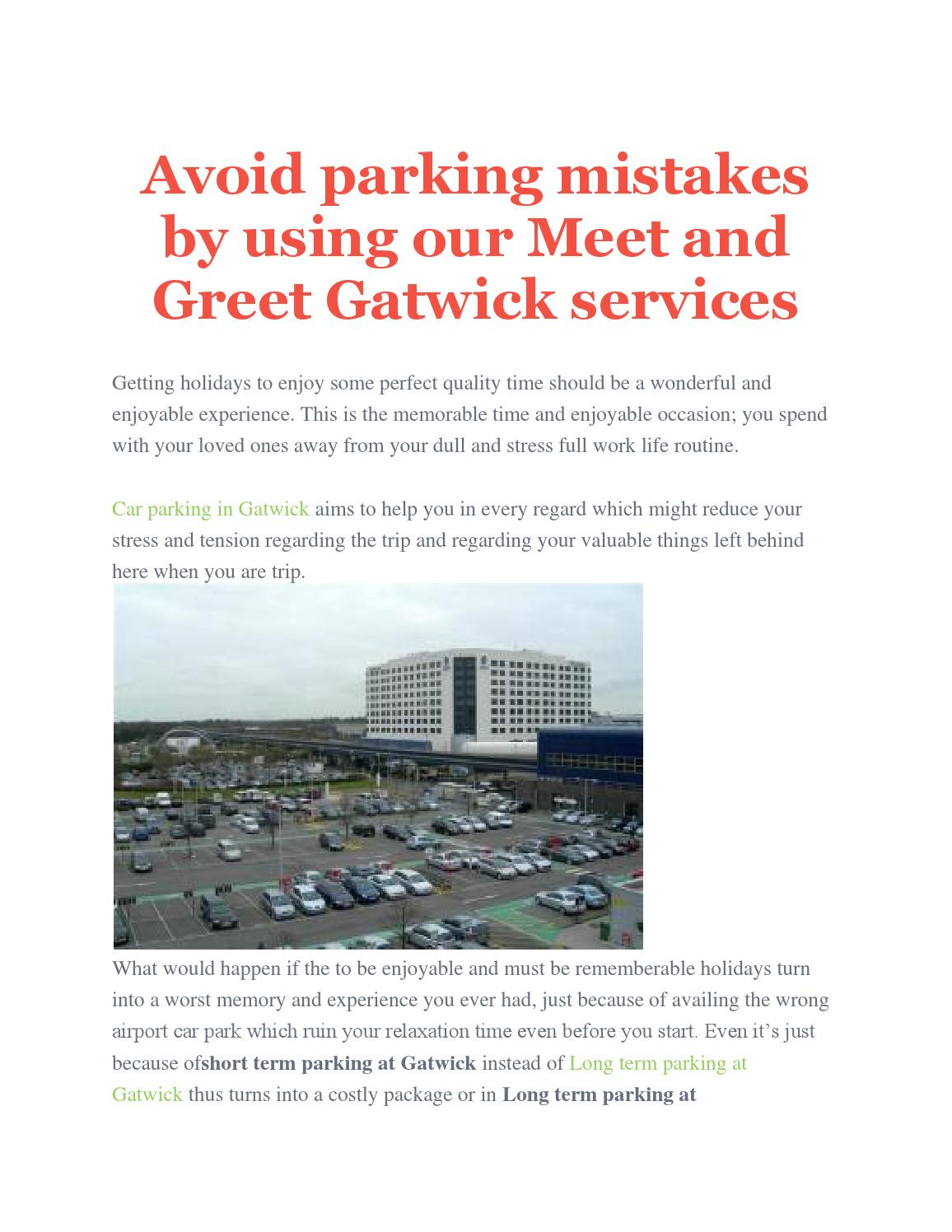 Avoid Parking Mistakes By Using Our Meet And Greet Gatwick Services