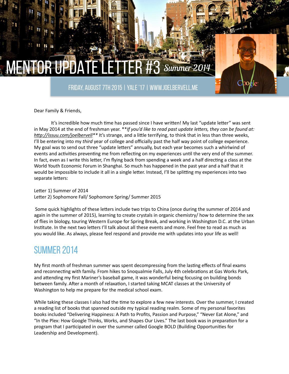 Med School Update Letter.Newsletter 3 By Joel Bervell Issuu