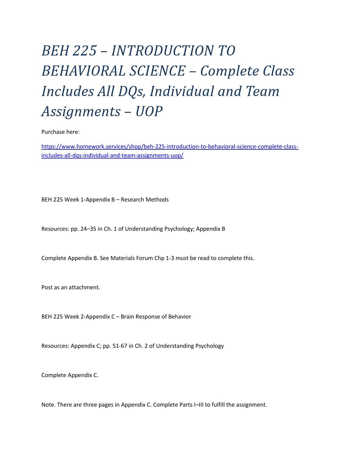 Beh 225 Introduction To Behavioral Science Complete Class