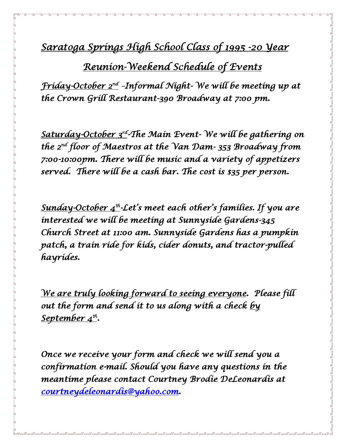 Class of 1995 20 year reunion weekend schedule by RobD - issuu