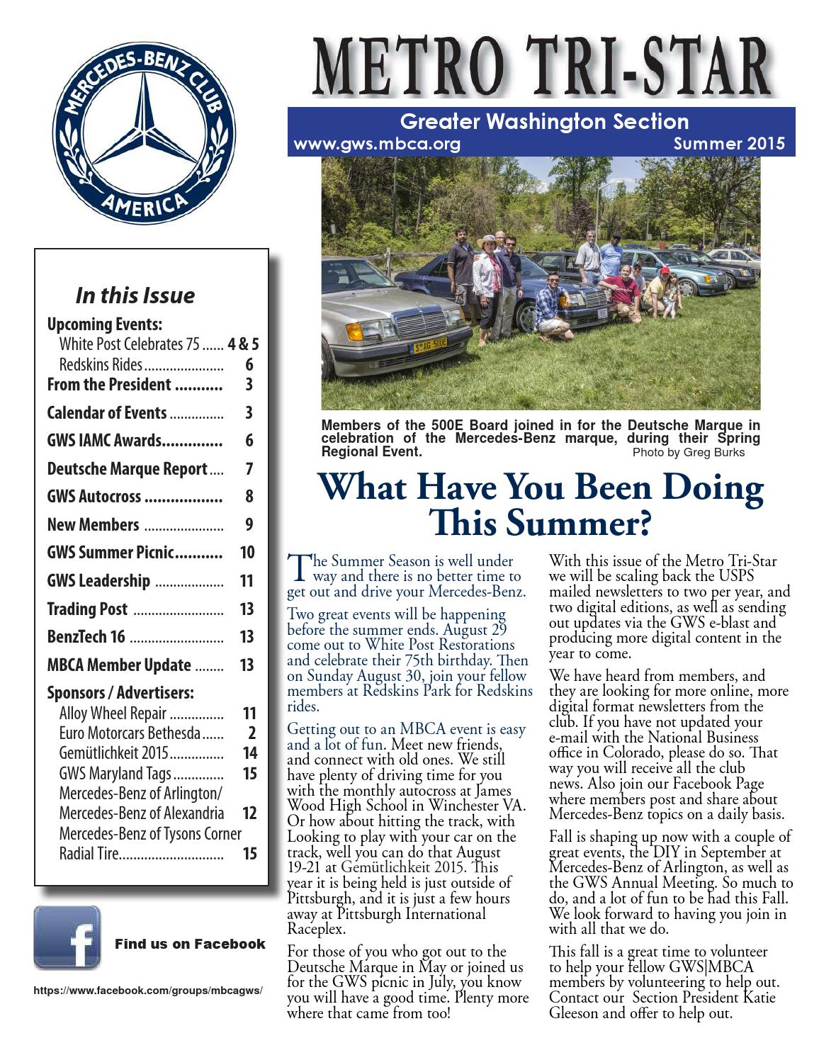 Mercedes Benz Of Tysons >> Mercedes-Benz Club of America Greater Washington Section Metro Tri-Star Summer 2015 Newsletter ...