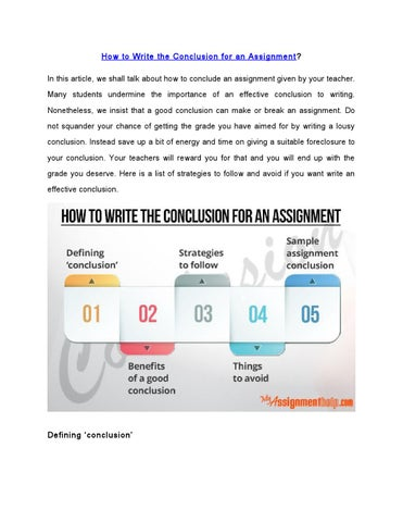How To Write An Assignment Conclusion By Stella  Issuu How To Write The Conclusion For An Assignment  In This Article We Shall  Talk About How To Conclude An Assignment Given By Your Teacher