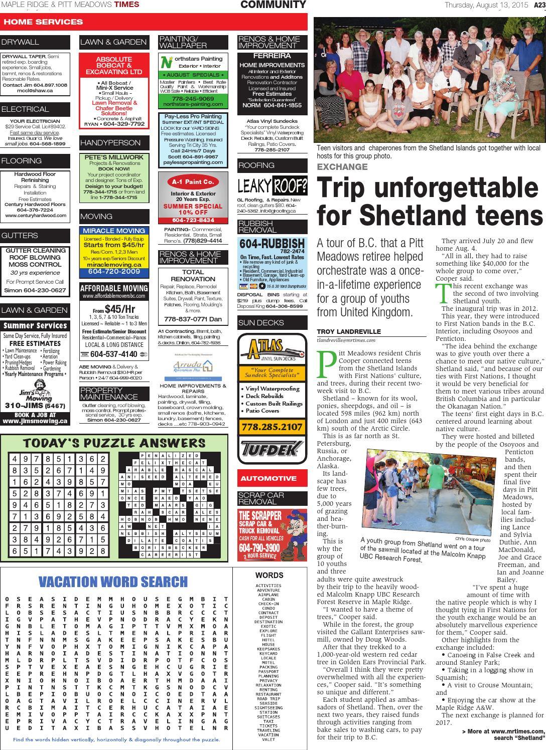 Maple Ridge-Pitt Meadows Times, August 13, 2015 by Black