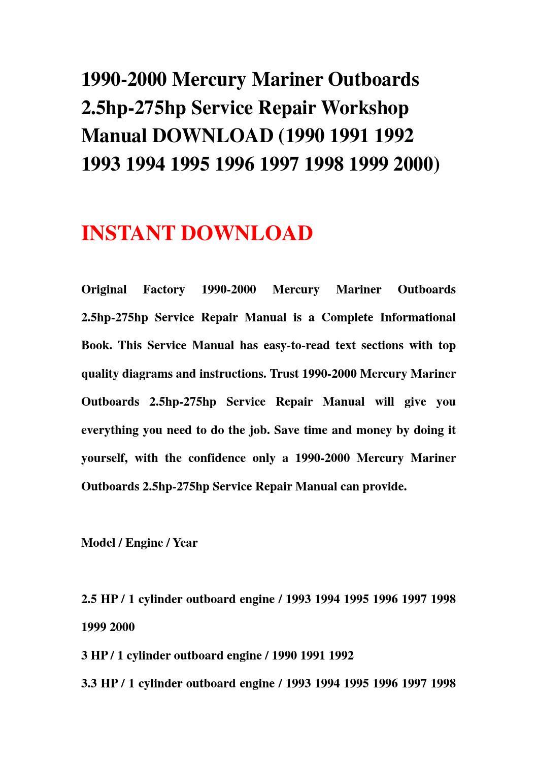 1990 2000 mercury mariner outboards 2 5hp 275hp service repair workshop  manual download (1990 1991 1 by jnshfne67 - issuu