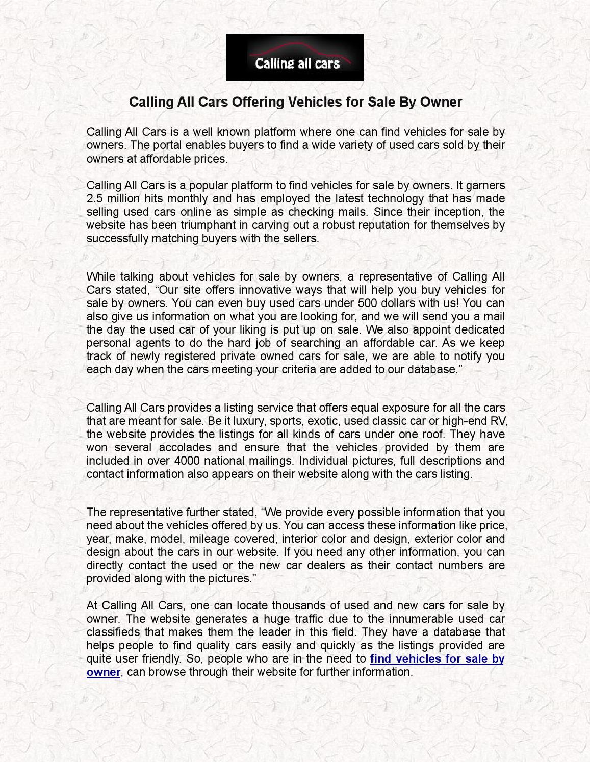 Calling all cars offering vehicles for sale by owner by cacars - issuu