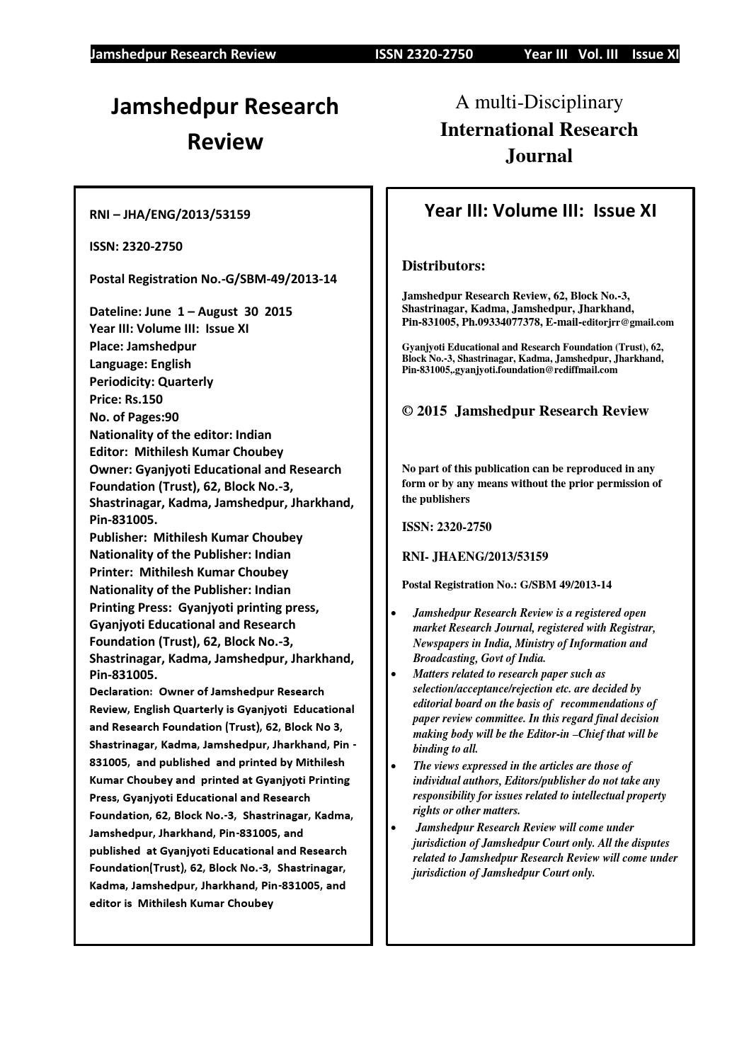 Jamshedpur research review Volume 3 issue 11 by Mithilesh