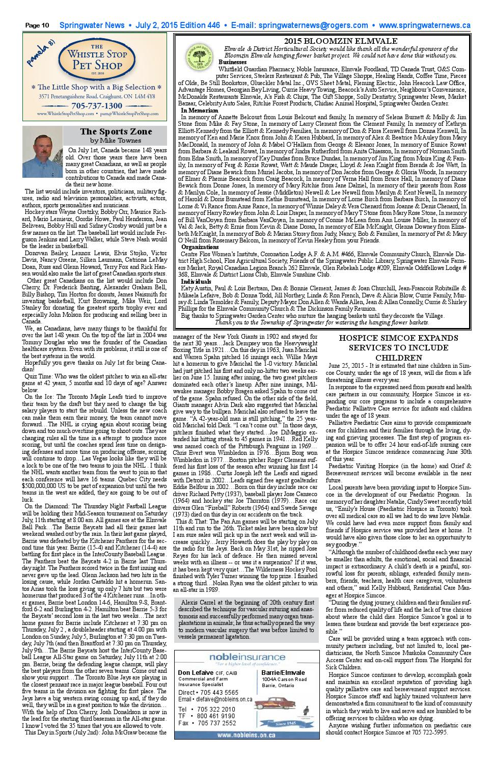 July 2 springwater news for web by Springwater News - issuu
