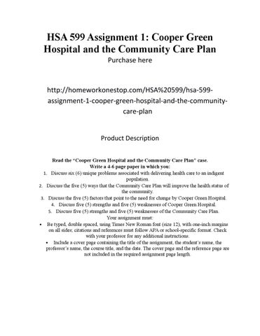 Cooper green hospital care plan
