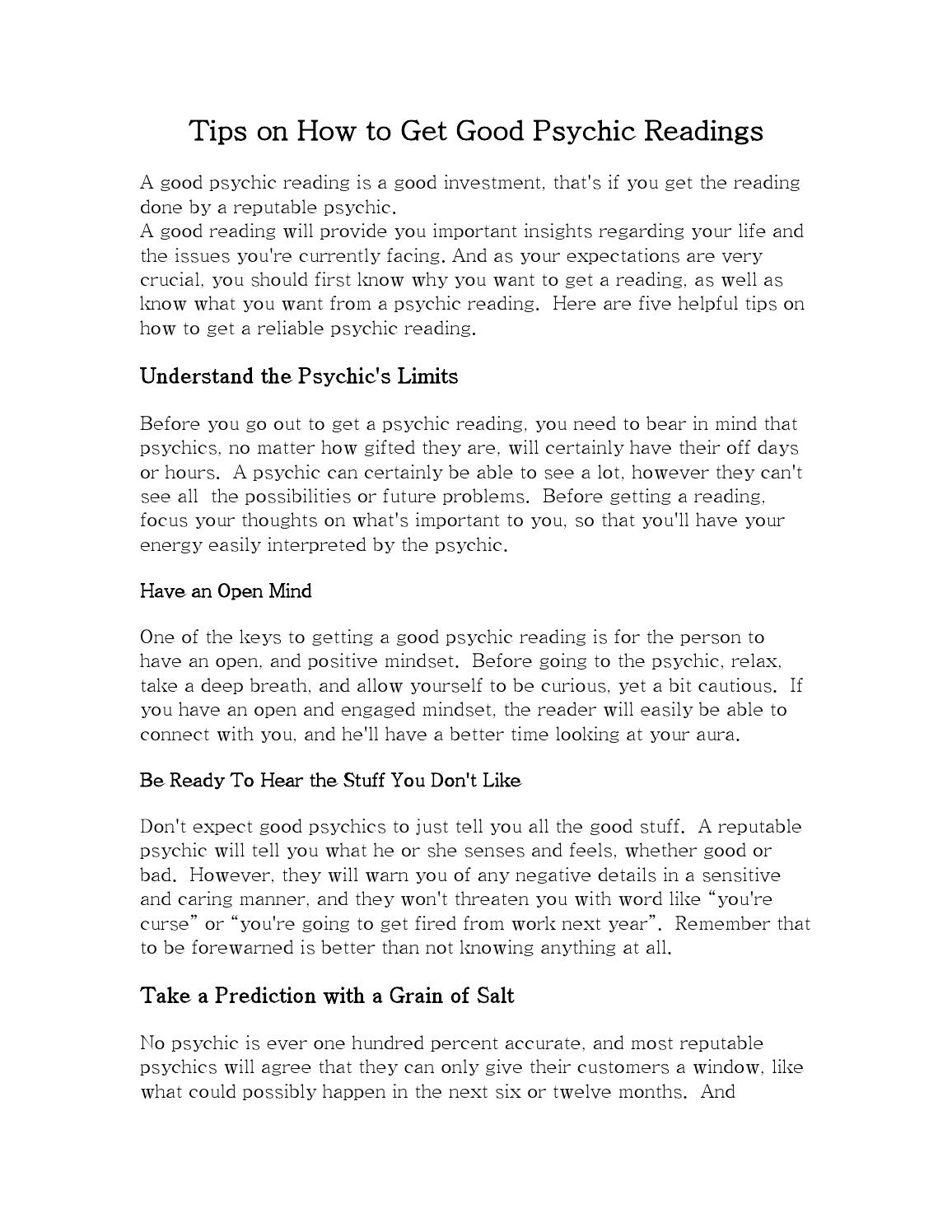 Tips on how to get good psychic readings by webbnix - issuu