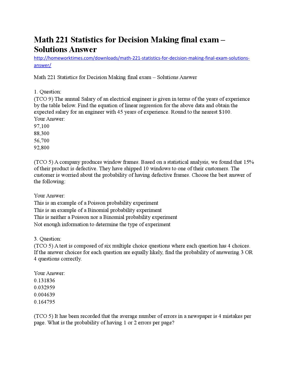Math 221 statistics for decision making final exam by
