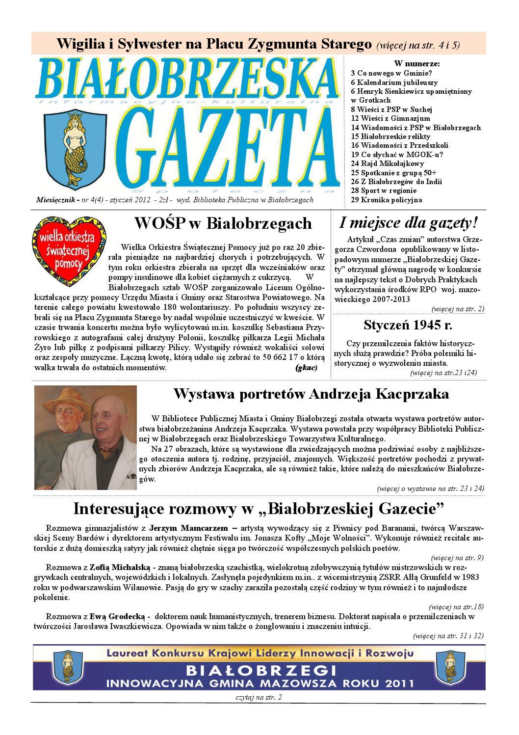 Gazeta Białobrzeska Nr 4 Styczeń 2012 By Białorzeska Gazeta