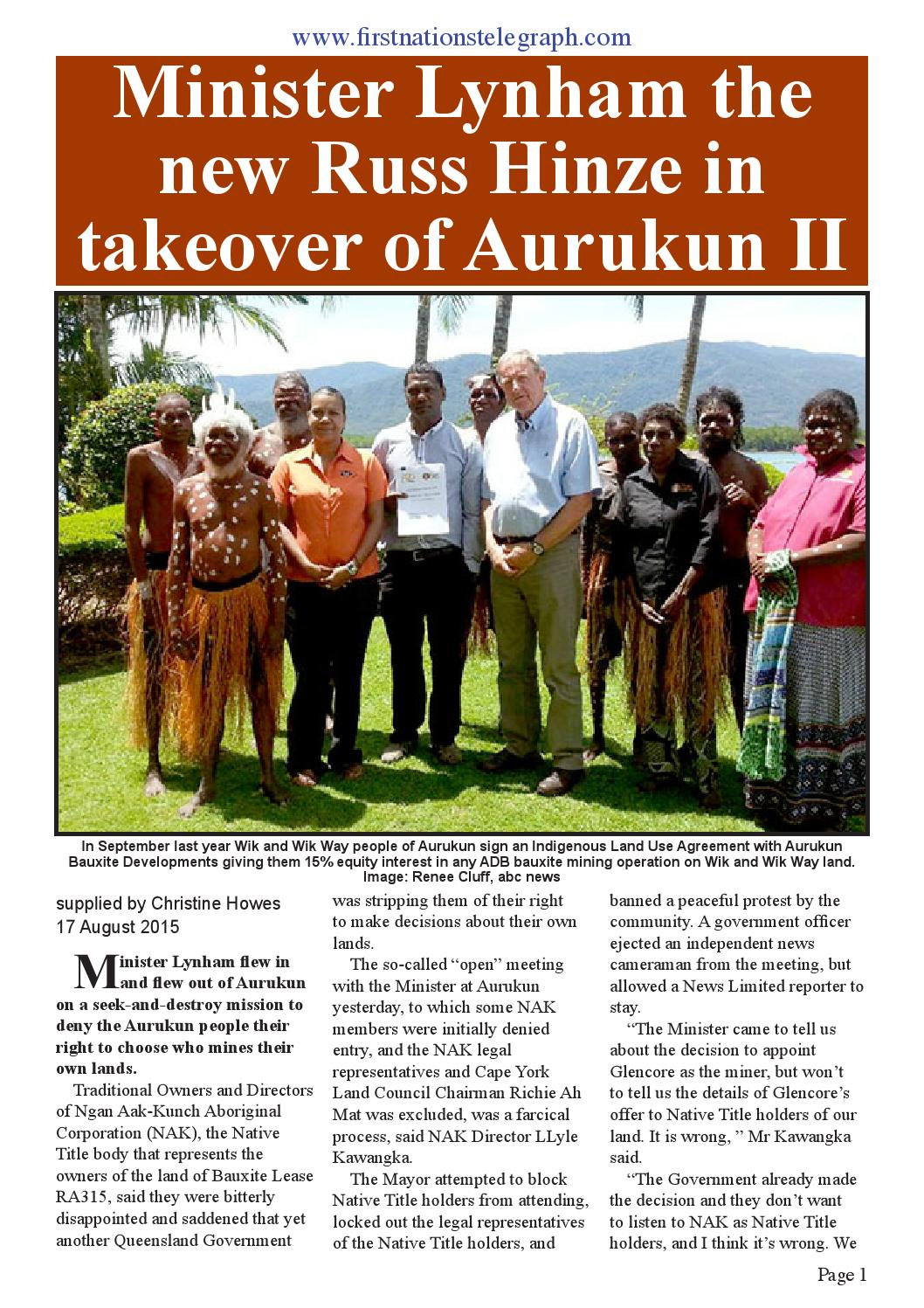 Minister Lynham The New Russ Hinze In Takeover Of Aurukun