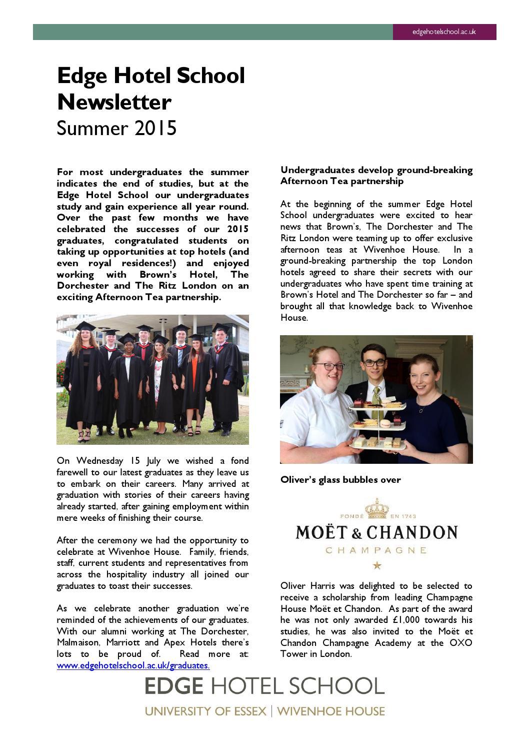 Edge hotel school summer newsletter 2015 by edge hotel school issuu sciox Choice Image