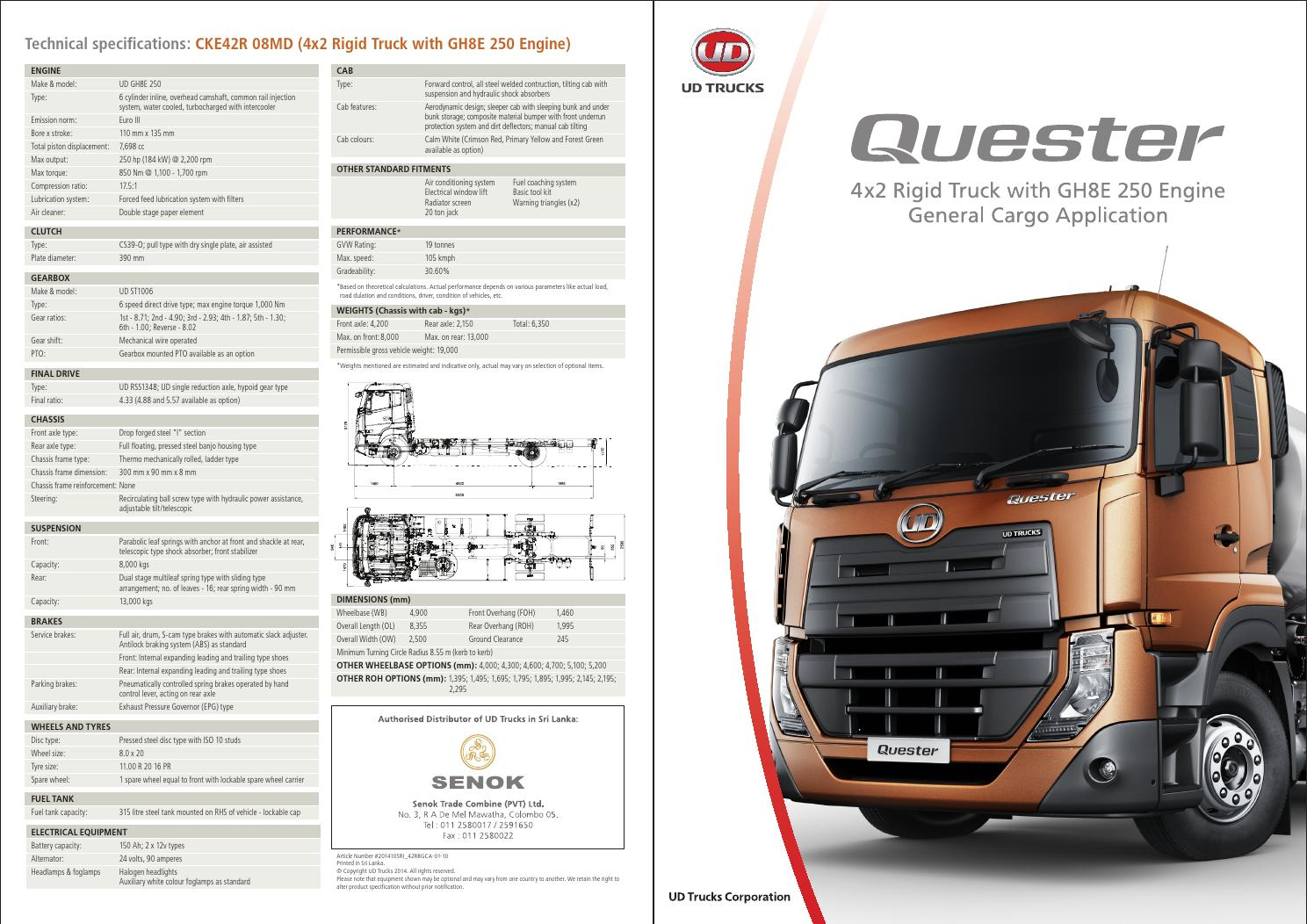 Quester Cke Mde8 Cargo Specification Sheet By Ud Trucks Corporation