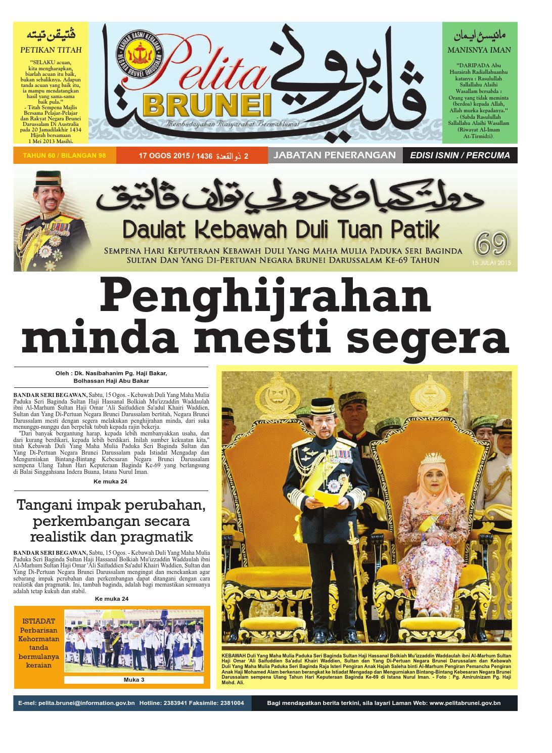 Pelita Brunei Isnin 17 Ogos 2015 By Putera Katak Brunei