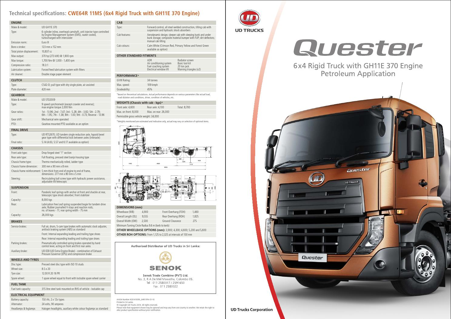 Quester Cwe Hde11 Specification Sheet By Ud Trucks