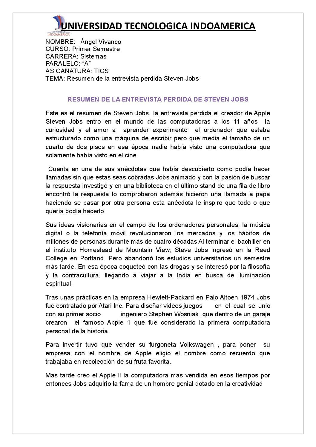 Deber De Tics Entrevista De Steve Jobs By Angel Vivanco Issuu