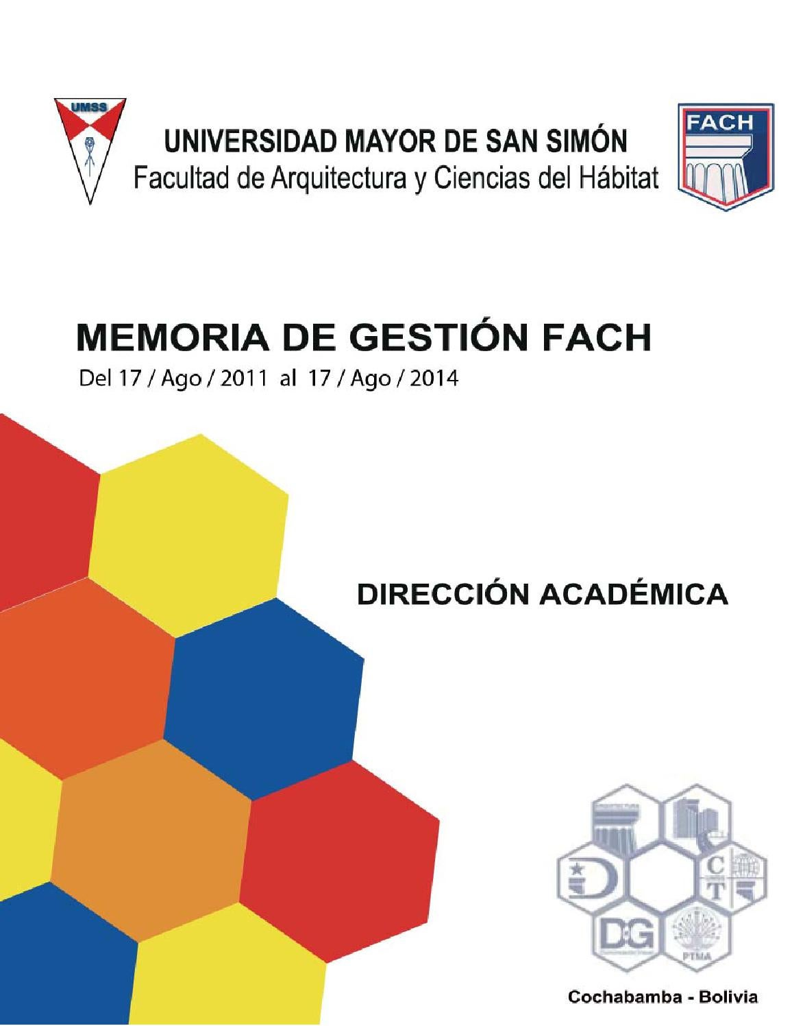 memoria de gesti243n fach umss 2011 2014 by memoria de