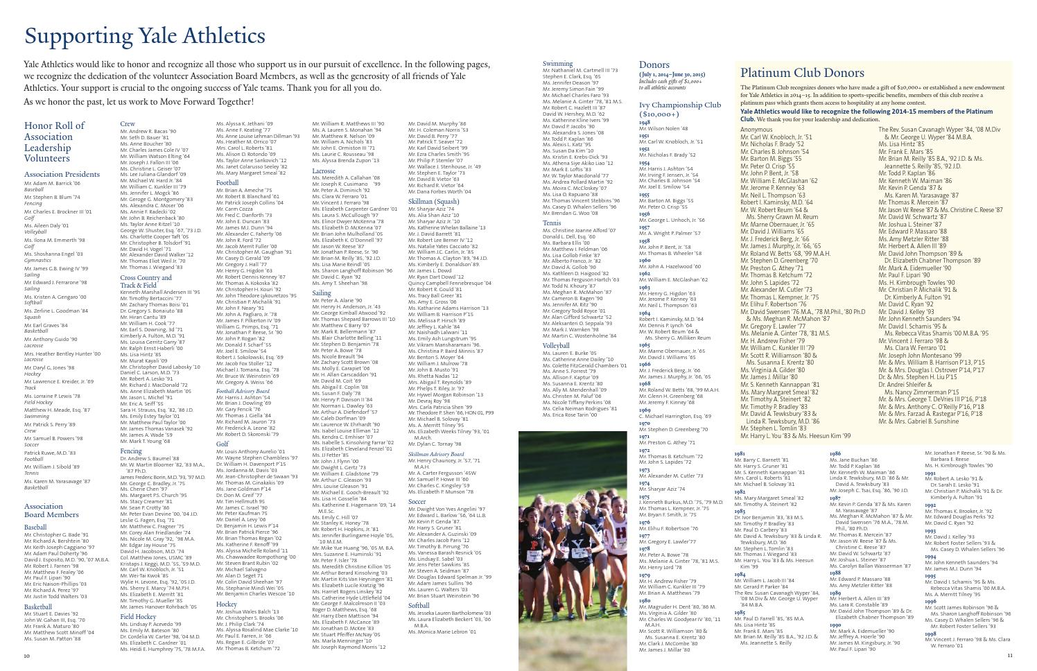 2014 15 Annual Report By Yale Athletics Issuu