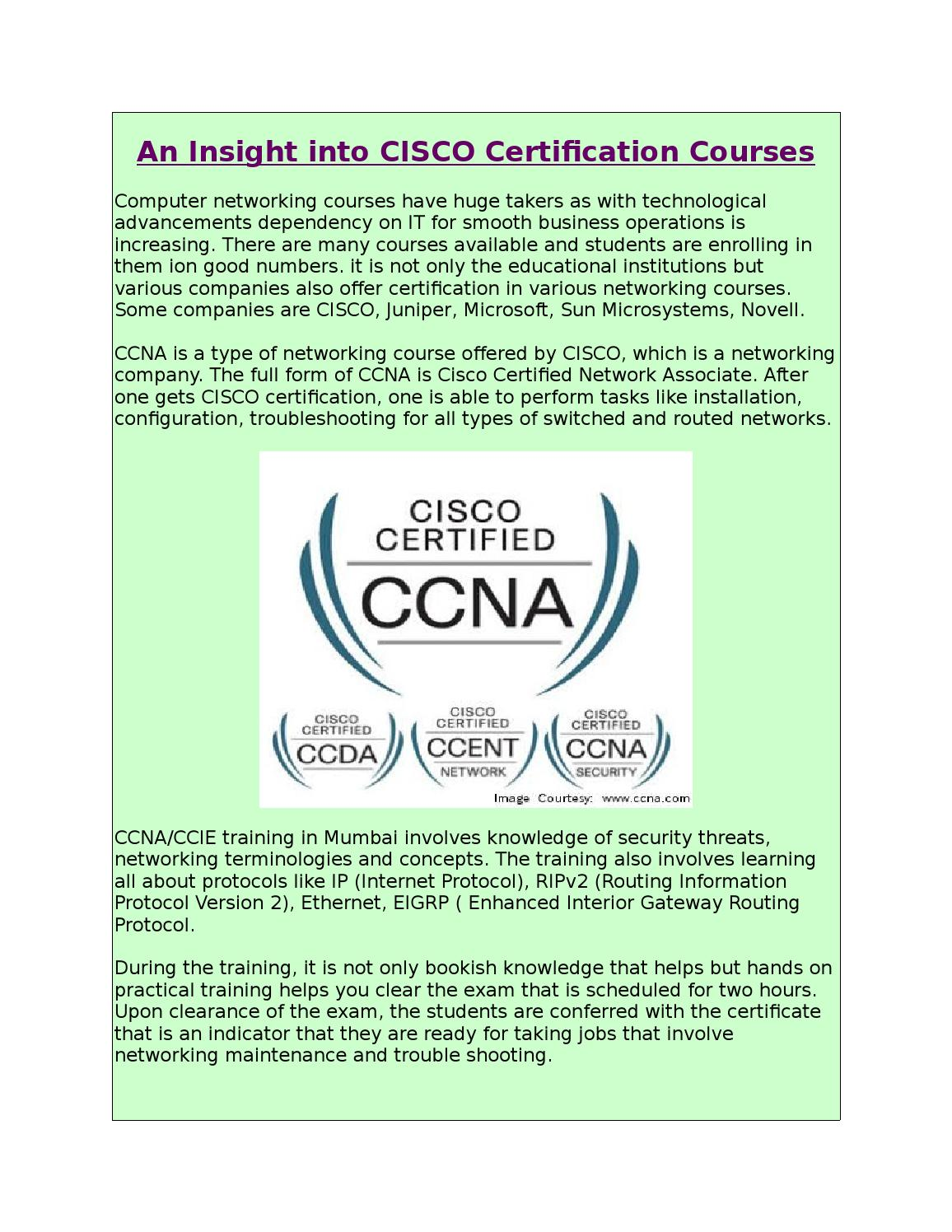 An Insight Into Cisco Certification Courses By Ip Solution Issuu