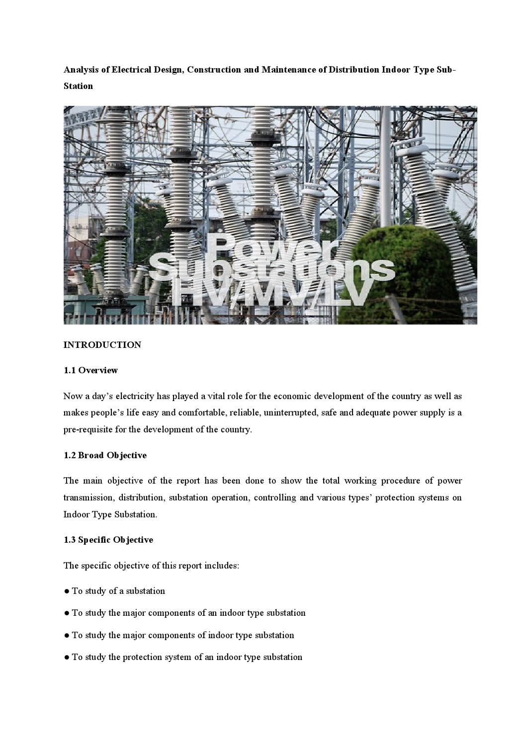 Analysis of electrical design, construction and maintenance of distribution  indoor type sub station
