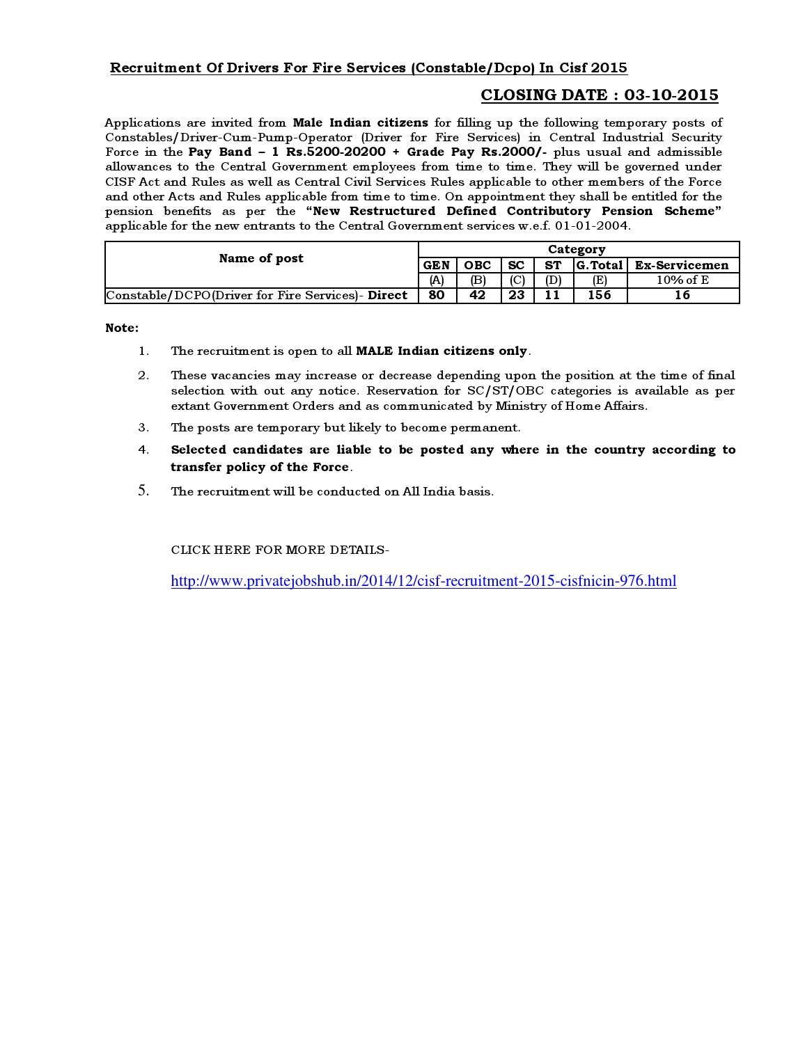 Recruitment Of Drivers For Fire Services (Constable/Dcpo) In Cisf 2015 by  privatejobshub - issuu