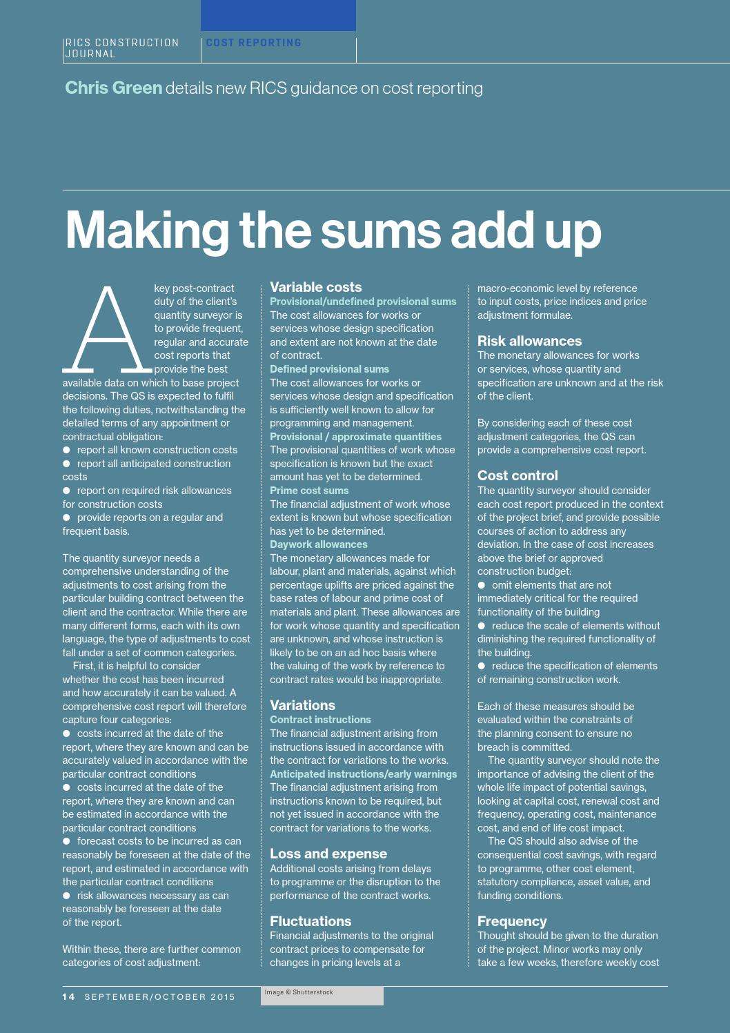 Construction journal september october 2015 by rics issuu for Allowances in construction contracts