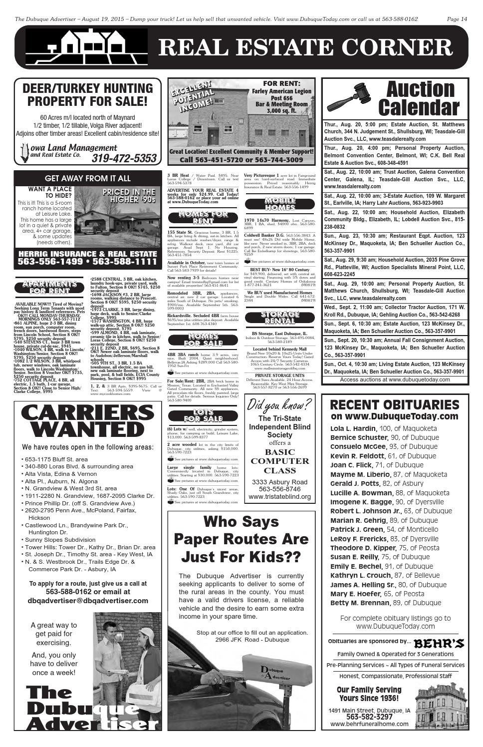 The Dubuque Advertiser August 19 2015 By