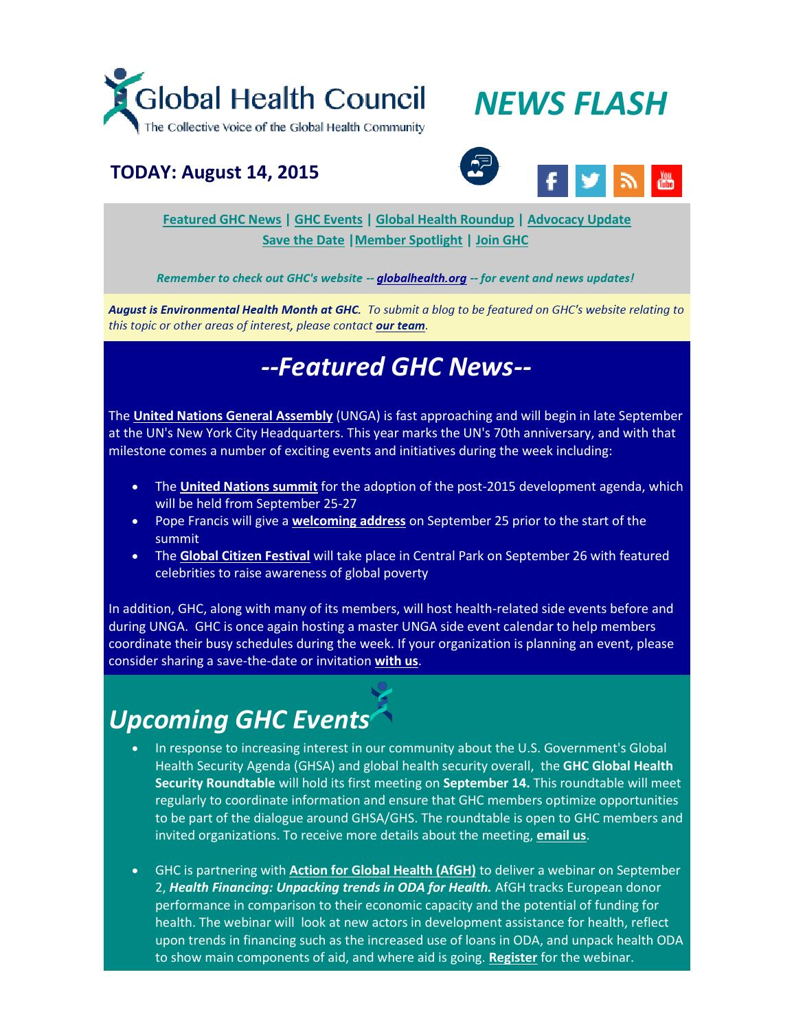 GHC NEWS FLASH Aug  14, 2015 by Global Health Council - issuu