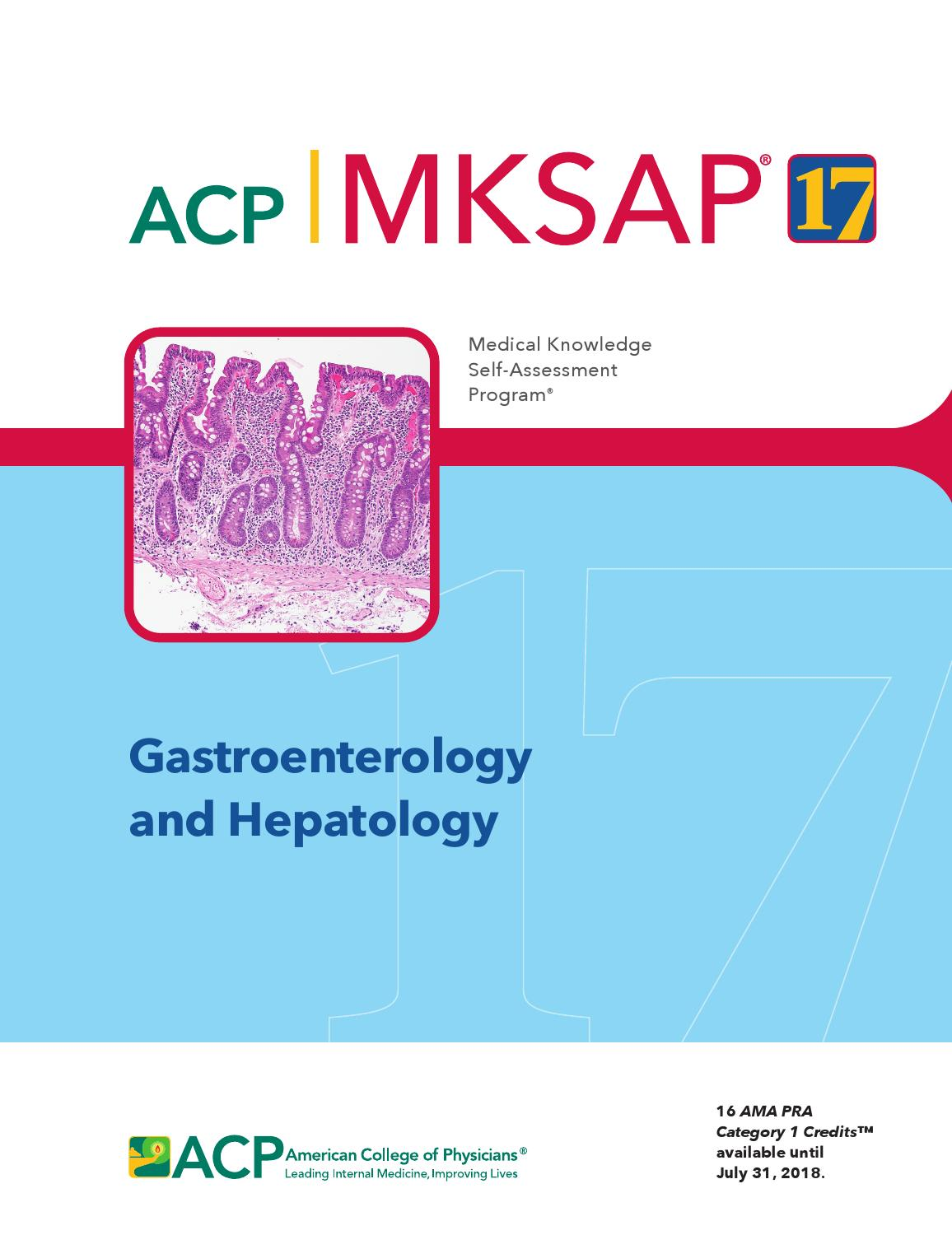 MKSAP 17 - Gastroenterology and Hepatology by American College of  Physicians - issuu