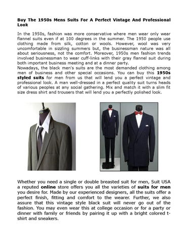 1950 Mens Vintage Suits By Suitusa Issuu