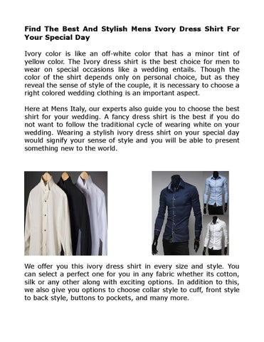 Ivory Party Wear Dress Shirts For Mens By MensItaly