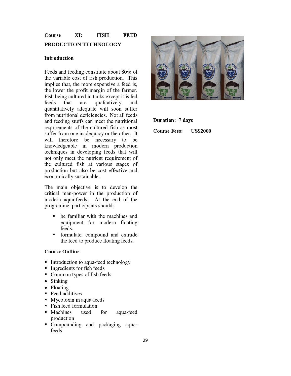 TRAINING BROCHURE ON AQUACULTURE PRODUCTION by CORAF/WECARD