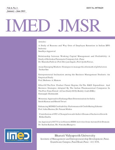 IMED JMSR Vol 6 Issue 1 Jan 2013 by IMED Bharati Vidyapeeth