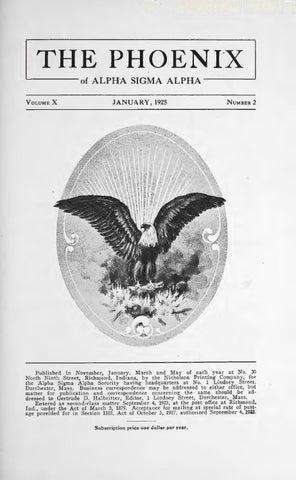 Asa phoenix vol 10 no 2 jan 1925 by Alpha Sigma Alpha