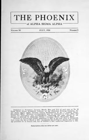 Asa phoenix vol 11 no 5 jul 1926 by Alpha Sigma Alpha Sorority - issuu
