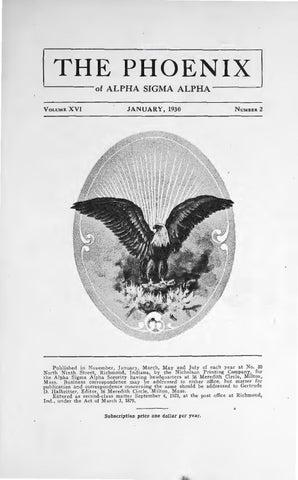 Asa Phoenix Vol 16 No 2 Jan 1930 By Alpha Sigma Alpha Sorority Issuu