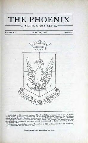 Asa Phoenix Vol 20 No 3 Mar 1934 By Alpha Sigma Sorority