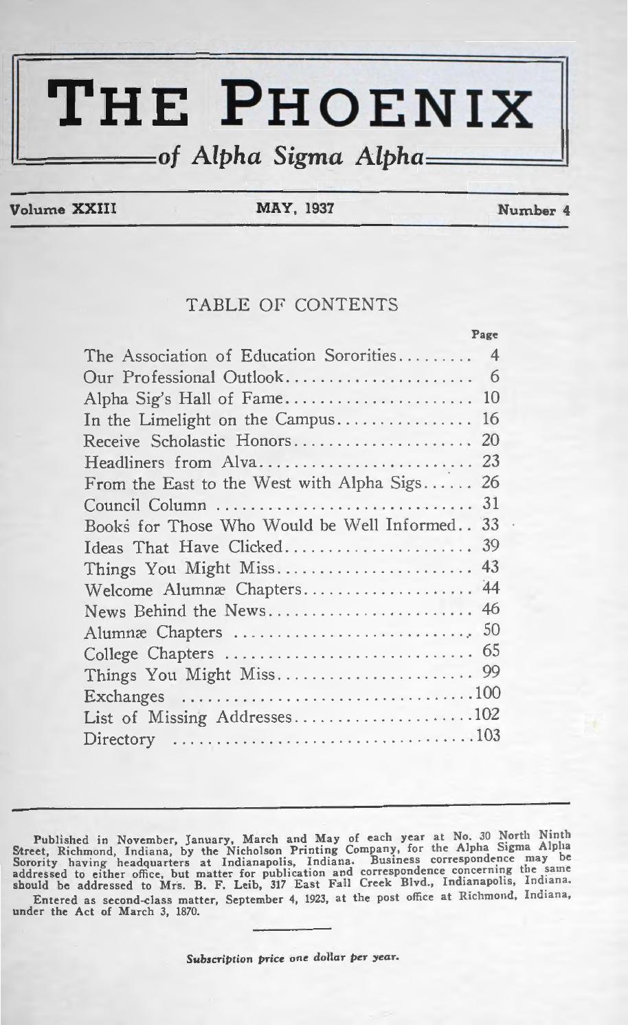 Asa phoenix vol 23 no 4 may 1937 by Alpha Sigma Alpha Sorority - issuu