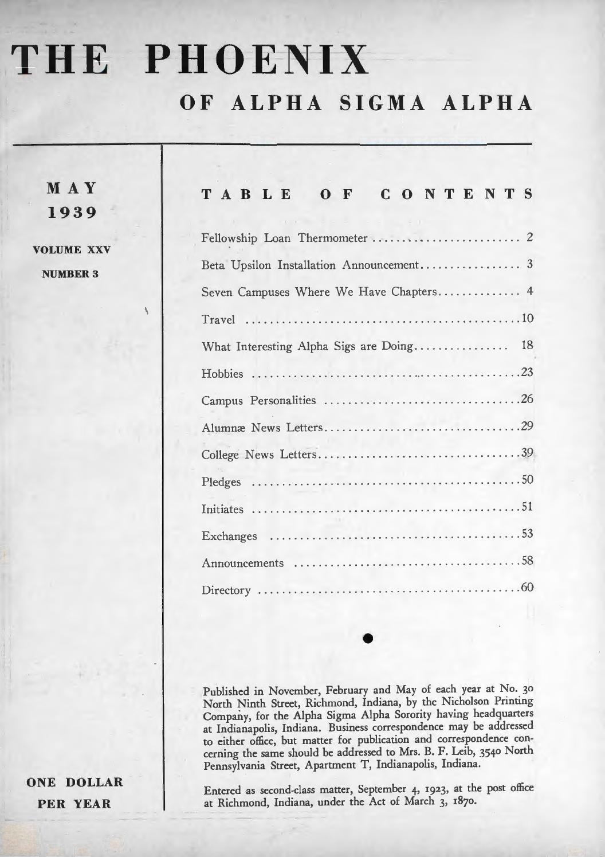 Asa phoenix vol 25 no 3 may 1939 by Alpha Sigma Alpha Sorority - issuu