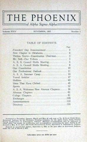 Asa phoenix vol 24 no 1 nov 1937 by Alpha Sigma Alpha Sorority - issuu