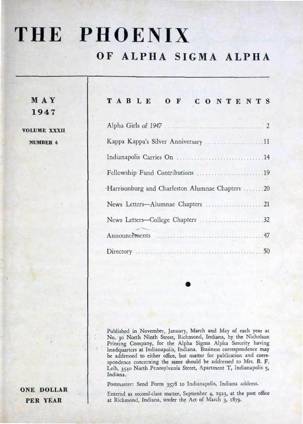 Asa phoenix vol 32 no 4 may 1947 by Alpha Sigma Alpha Sorority - issuu 151ab9b320824