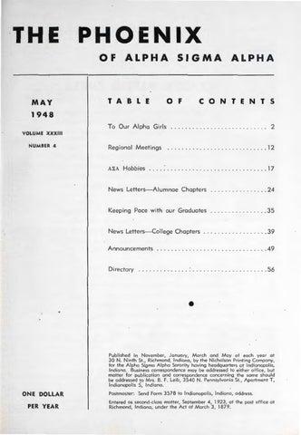 Asa phoenix vol 33 no 4 may 1948 by Alpha Sigma Alpha Sorority - issuu